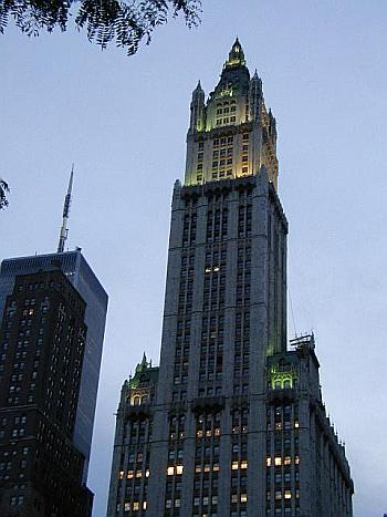 Woolworth Building at dusk.