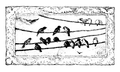 Illustration of several birds on a telegraph wire.