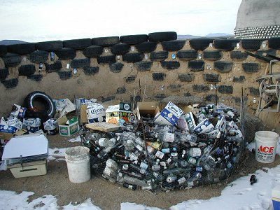 Earthship building blocks, the tires, outside of Taos, New Mexico.