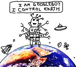 Googlebot Controls the Earth! Illustration by Rebecca Dravos.