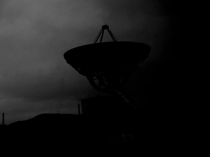 Photo of radio telescope, Greenbank observatory, West Virginia.