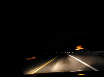 Road at night.