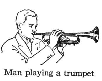 Image: a man blows a trumpet.