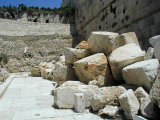 Stones used to build Herod's Temple. Knocked to the ground by Roman soldiers in AD 70.