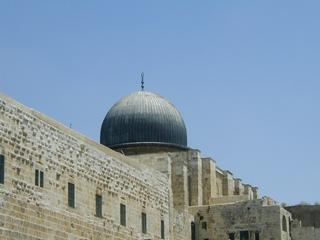 The dome of the Al Aqsa Mosque, looking up from the Temple mount.