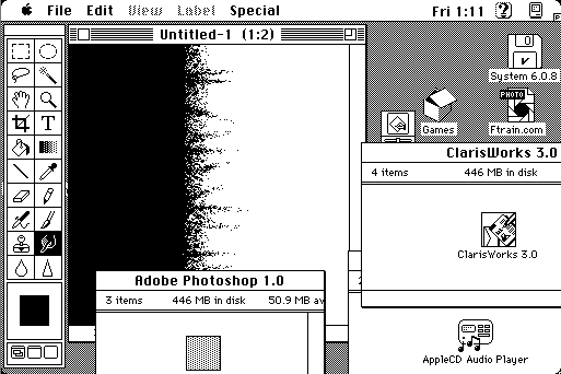Photoshop 1.0 on a virtual Mac running System 7